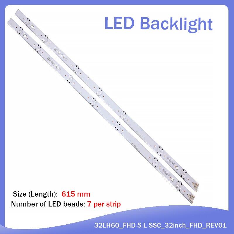 New Kit 10 PCS 7LED 615mm LED Blacklight Strip For LG 32LH604V 32LH530V 32LH60_FHD_A 32LH60_FHD S L SSC_32inch_FHD_REV01_151102