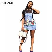 ZJFZML Cartoon Pattern Denim Dress New Short Sleeve Black White Casual Robe Sexy Package Women Summer Jeans Mini Dresses
