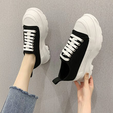 Canvas Flat Platform Shoes Women Black White Thick Sole Sneakers Women Weekend Leisure 6 Cm Platform Sneakers Women 2020(China)