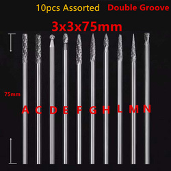 10pcs Assorted 3x3x75mm extend long solid tungsten carbide burrs grinding abrasive tool for dremel grinding point rotary tool