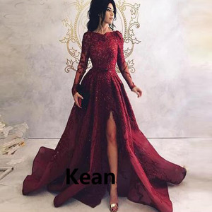 vestidos de festa Burgundy Evening Dresses High Split Scoop Long Sleeve Applique Islamic Dubai Saudi Arabic Evening Gown Prom