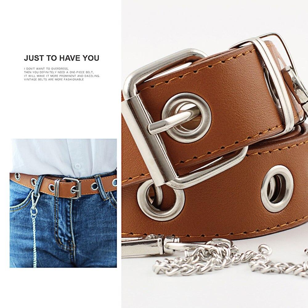 1Pcs Womens Fashionable Slip PU Leather Hole Casual Jeans Dress Long Waist Belt