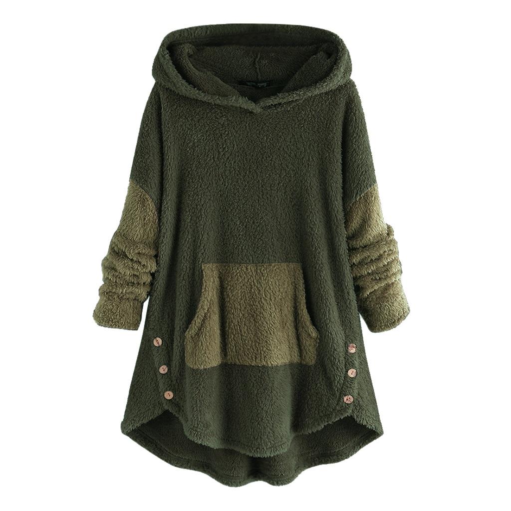 Hoodies For Women Fleece Patchwork Plush Button Hem Long Sleeves Warm Winter Plus Size 5XL Sweatshirts  #YJ2