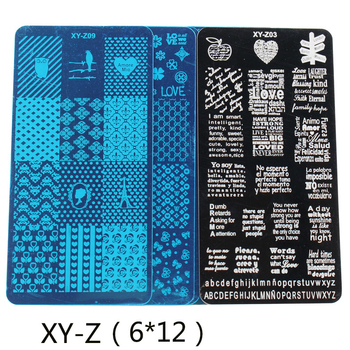 цены 1PC English Words Nail Art Image Stamp Stamping Plate Manicure Template nail plate DIY nail print Nail polish steel plate XY-Z32