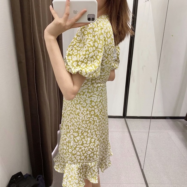 Za Lemon Green Print Mini Woman Dress Summer Puff Sleeve Floral Dresses V-neck Pleated Waist Casual Vintage Dress Women Ruffle 4