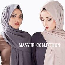 Foulard en mousseline de soie pour femmes, châle uni, Hijab musulman, longue écharpe de couleur unie