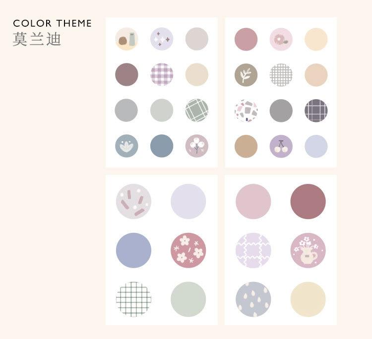 Mohamm, 8 листов, Плоские наклейки в горошек, креативные, Morandi, цветные, с цветами, стационарные, для скрапбукинга, подарок, для девочек, школьные принадлежности