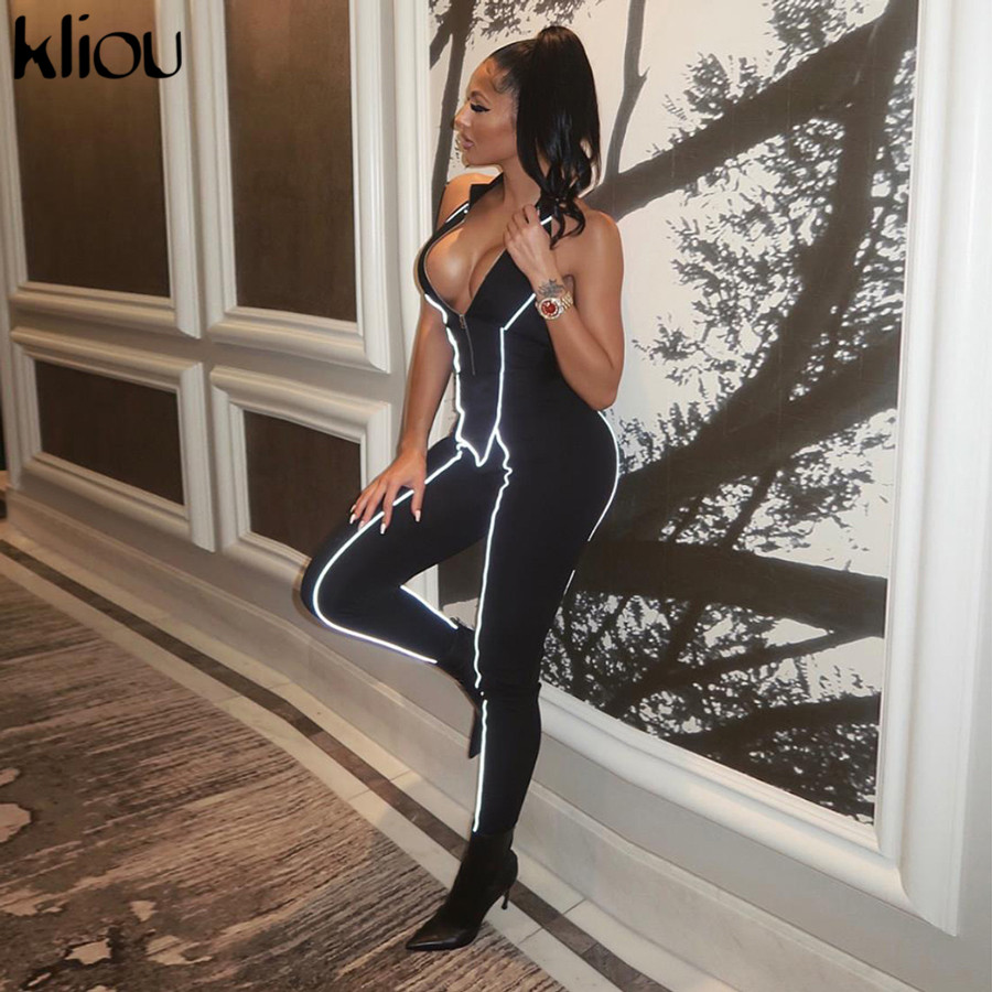 Kliou women sexy sleeveless   jumpsuit   reflective striped patchwork turtleneck elastic skinny rompers 2019 backless long bodysuit