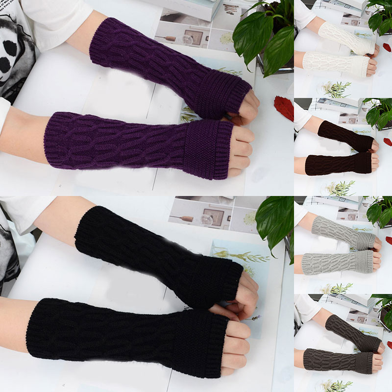 1 Pair Women Arm Sets Warm Solid Pattern Long Section Sleeves Knitted Fake Sleeves