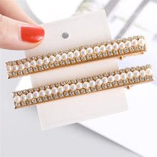 2019 New Fashion Women Pearl Hair Clip Snap Hair Barrette Stick Hairpin Hair Styling Accessories For Women Girls ubuhle fashion women full pearl hair clip girls hair barrette hairpin hair elegant design sweet hair jewelry accessories 2019