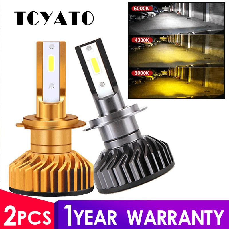 Мини-лампа TCYATO Canbus, светодиодная лампа для автомобиля H4 H7, 12 В, 4300 лм, 6000 K, 3000 K, 9005 K, лампа для H3, h1, 9006, HB3,