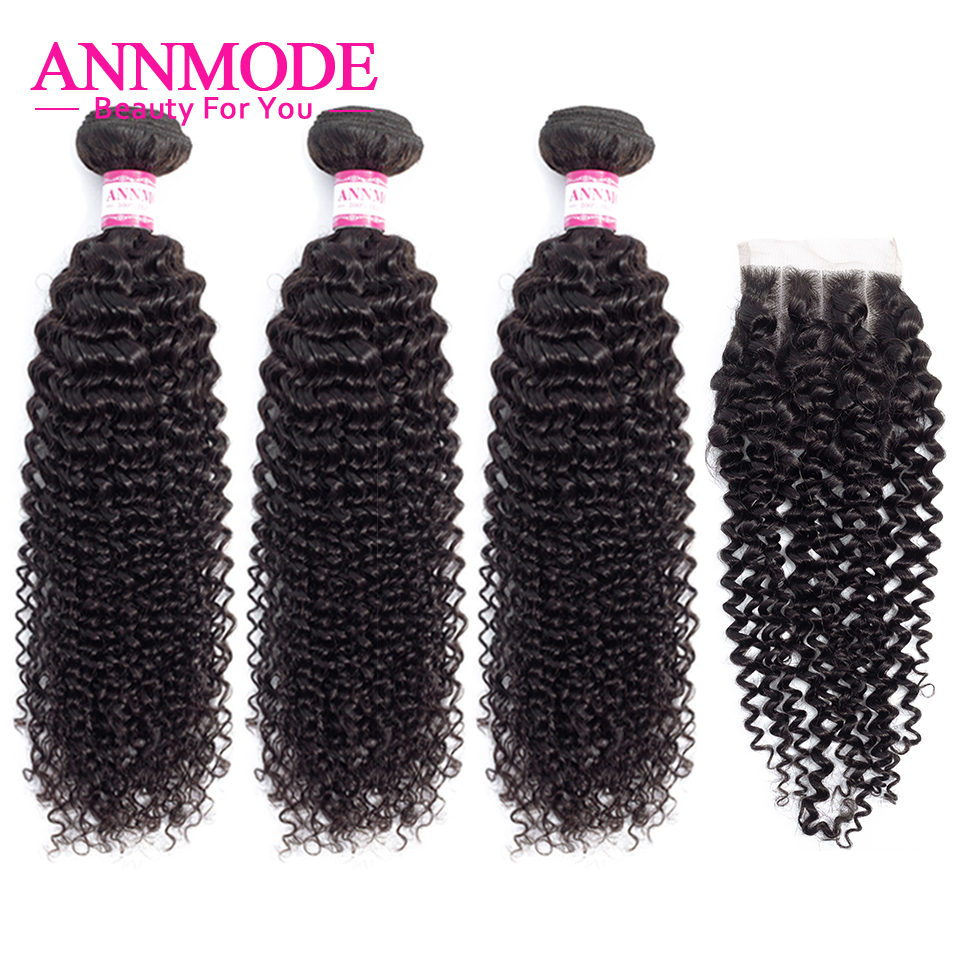 Brazilian Kinky Curly 3 Bundles With Closure 8-28inch Human Hair Weave 4x4 Middle Three Free Part Hair Closure Non-Remy Annmode