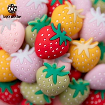 Let's Make 5pcs Silicone Beads Strawberry Eco-friendly Babies Accessories DIY Jewelry Pacifier Chain Nipple Holder Cartoon Set