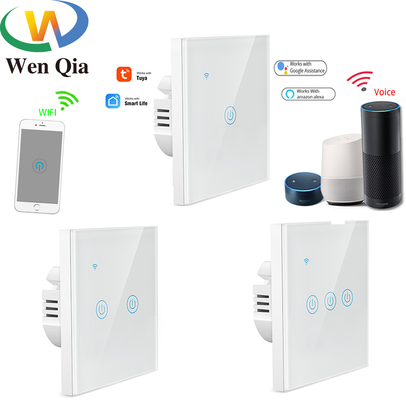 EU Wifi Smart Light Switch Touch Panel Voice Glass Screen 1/2/3-Gang Control Wireless Wall work with