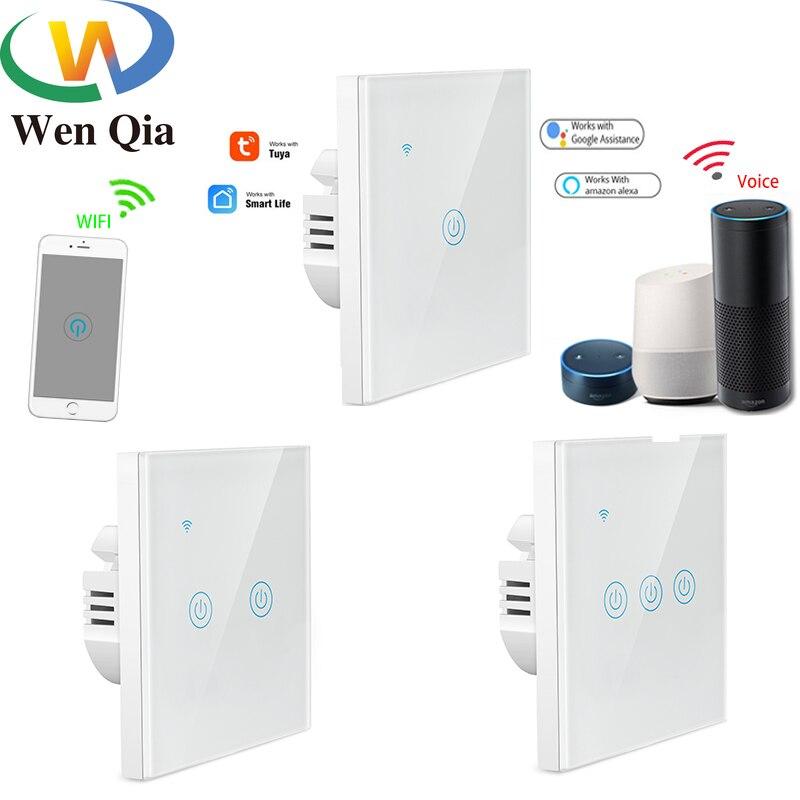 EU Wifi Smart Light Switch Touch Panel Voice Glass Screen 1/2/3-Gang Control Wireless Wall work with Alexa Echo Google Home