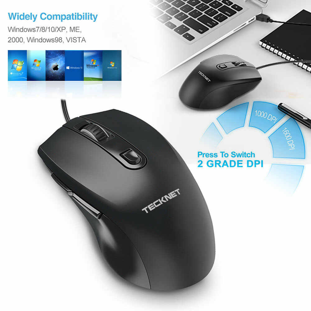 TeckNet 有線マウスアルファ USB 光学式オフィスマウスビジネスマウス 1000DPI 1600DPI Pc のラップトップ