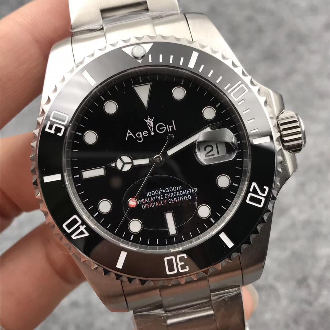 Luxury Brand New Men Automatic Mechanical Watches Silver Black Blue Stainless Steel Ceramic Bezel Sapphire Watch Waterproof AAA+