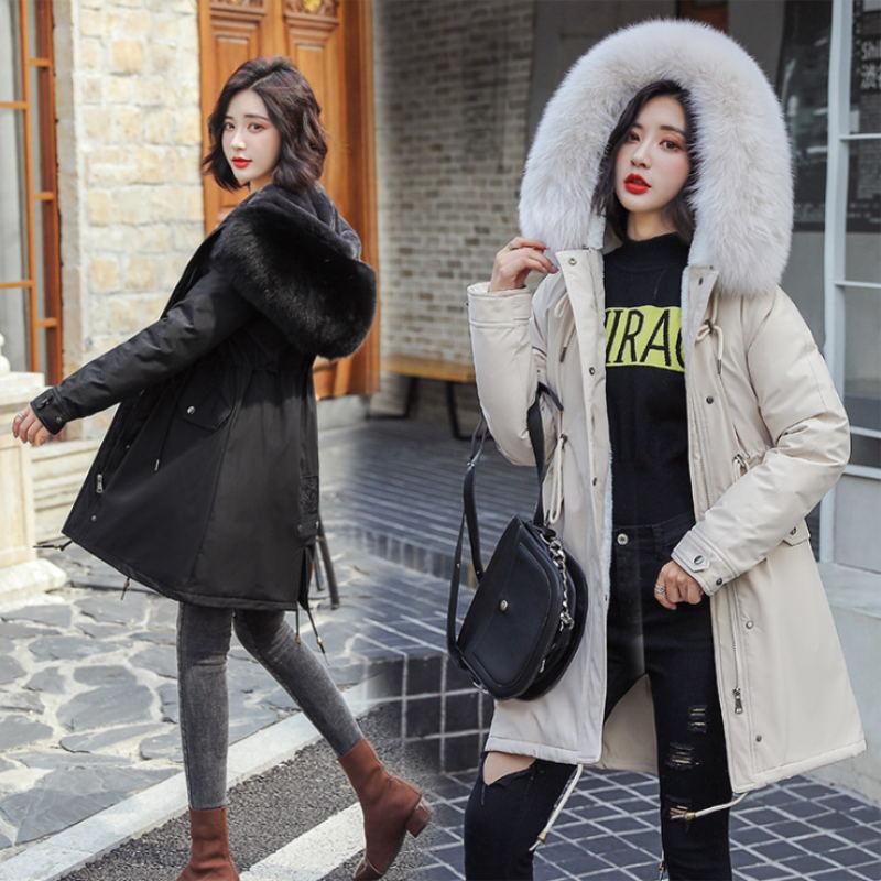Зимние парки 2019 зима 30 градусов женские парки пальто с капюшоном меховой воротник толстая секция теплые зимние куртки зимнее пальто куртка - 3