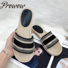 Prowow New Summer Letter Embroidery Luxury Brand Mule Espadrilles Women Sandals Designer Flats Loafer Shoes Women Zapatos Mujer