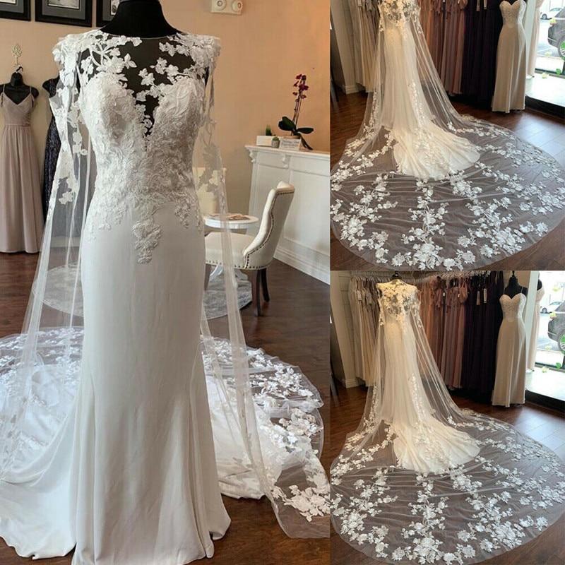 White Custom Wedding Dress Lace Applique O Neck Mermaid Bridal Gown With Train Women Cape