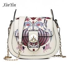 Fashion ladies print shoulder handbags PU leather casual women chain crossbody packs luxury vintage bags retro