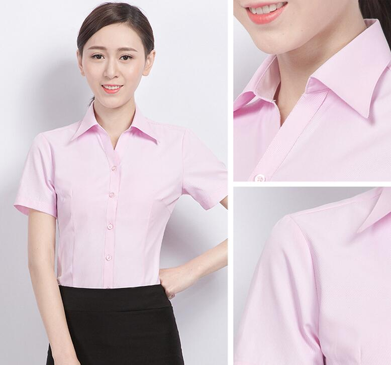 2020 Summer ladies business short-sleeved shirt white blue was thin professional wear tooling shirt <font><b>BN180</b></font>-BN208 image