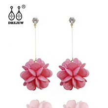 DREJEW Pink Orange Yellow Green Flower Statement Earrings Sets 2019 925 Alloy Drop for Women Fashion Jewelry HE9141