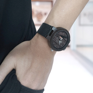Image 3 - BOBO BIRD drewniane zegarki dla mężczyzn Casual kwarcowy zegarek męski часы мужские czarny skórzany pasek ze skóry wołowej z drewnianym pudełku Dropship