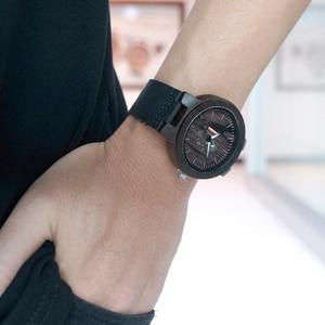 Image 3 - Bobo Vogel Houten Horloges Voor Mannen Casual Quartz Mannelijke Horloge Часы Мужские Zwarte Koeienhuid Lederen Band Met Houten Doos Dropship