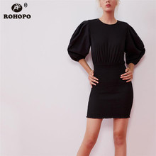 ROHOPO Puff Half Sleeve Tunic Smocking Hem Autumn Solid Dress Elasticity Bottom Top Loose Ladies Vestido #9340 petal puff sleeve curved hem dress