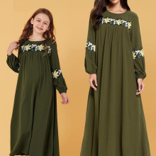 Green, pastel embroidered, long-sleeved, bubble-sleeve, long-sleeve Muslim dress