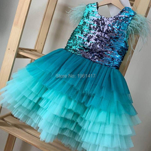 Dress Sequin Baby-Girls Lace Party Toddler Princess Kids Gold Tutu Patchwork AG0112 Ruffle