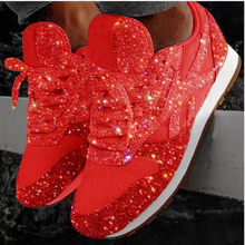 2019 Autumn Women Flat Bling Sneakers Casual Vulcanized Shoes Female Mesh Lace Up Ladies Platform Comfort Plus Size Fashion()