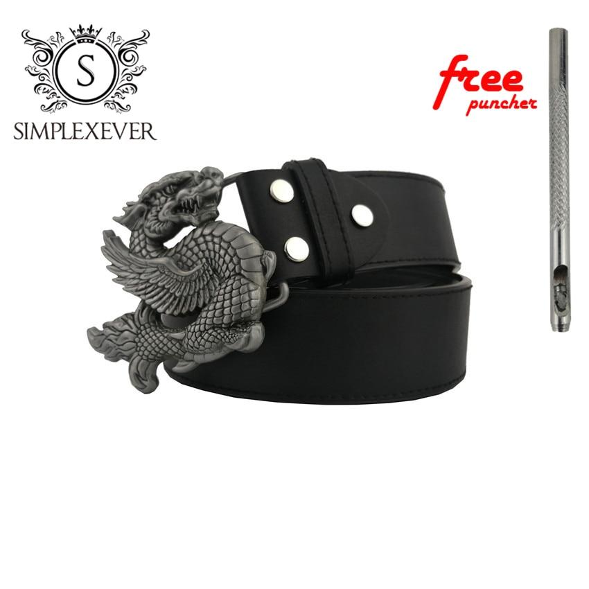 Belts With Silver Dragon Belt Buckles Zinc Alloy Mens Belt Buckle Head Suit For 4cm Width Belt Jeans Accessories