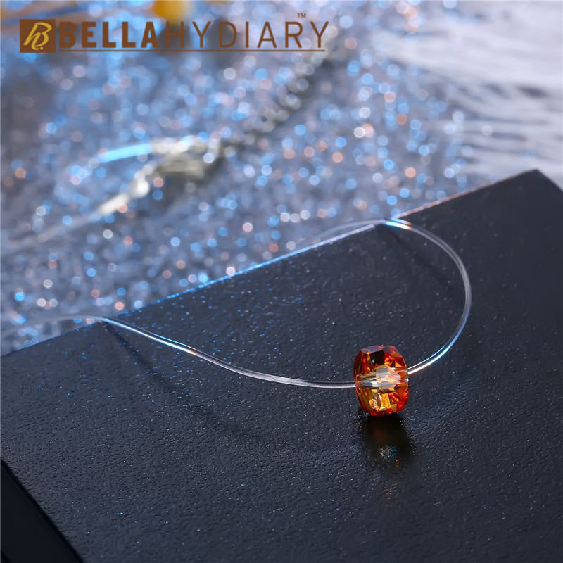 Bijoux Yellow Geometric Rhinestone Choker Necklaces Transparent Fishing Line Necklace Invisible Chain Necklaces Pendants Collier