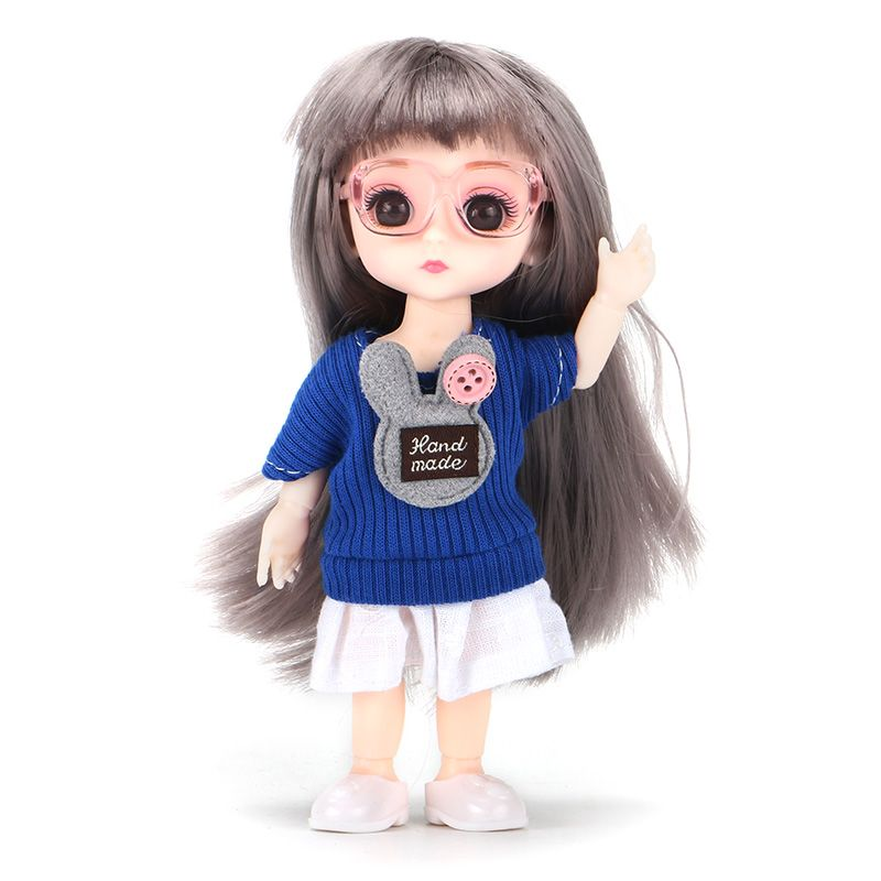 6inch Princess Girl Doll bjd Boneca Dolls normal/joint body Ball Jointed Reborn Glasses Dolls Toys Clothes Shoes Gift For Girls 8