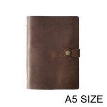 En moda hakiki deri yüzük Notebook A5 planlayıcısı pirinç bağlayıcı Spiral eskiz defteri Snap düğmesi kişisel günlüğü kırtasiye