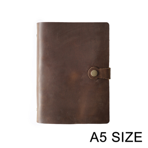 Image 1 - En moda hakiki deri yüzük Notebook A5 planlayıcısı pirinç bağlayıcı Spiral eskiz defteri Snap düğmesi kişisel günlüğü kırtasiye
