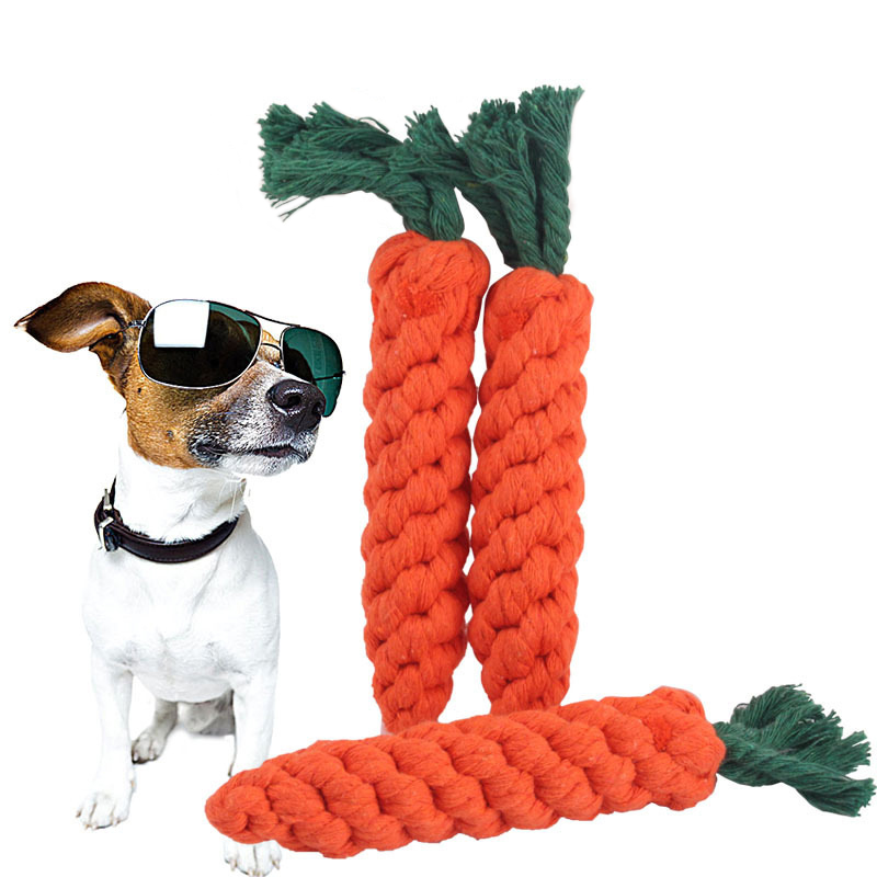 Pet Molar Cotton Rope Toy Cute Radish Shape Dog Chewing Toy Outdoor Tossing Game Puppy Teeth Cleaning Cat Stick Dog Supplies