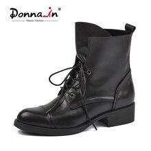 دونا في دراجة نارية أحذية النساء 2020 الخريف حذاء من الجلد بوط من الجلد الطبيعي أزياء من الدانتل حتى جولة تو الراحة أحذية للنساء