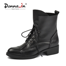 Donna in Motorcycle Boots Women 2020 Autumn Ankle Boots Genuine Leather Boots Fashion Lace Up Round Toe Comfort Shoes for Women