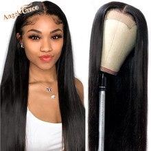 Angel Grace 4x4 dentelle fermeture perruques de cheveux humains Remy dentelle frontale perruque brésilienne droite 13x4 dentelle avant perruques pour les femmes pré plumées