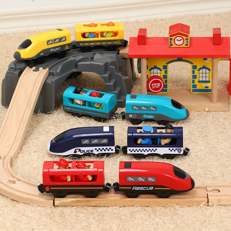 New Toy With Sound Electric Magnetic Train Compatible With BRIO Wooden Track Four-color Electric Train Children's Track Toy