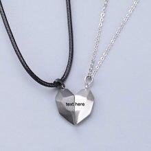 2 pçs minimalista amante correspondência amizade preto branco coração pingente casal distância magnética coração pingente colar jóias presente