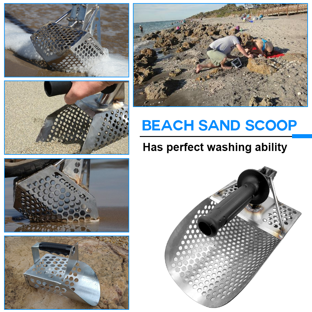 Pelle à sable de plage avec poignée outil de détection de métal détecteur d'acier inoxydable détecteur de métaux à tamiser rapide - 6