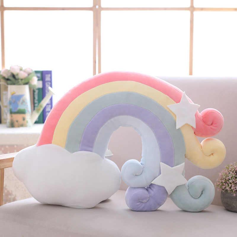 2019 New ARRIVAL ตุ๊กตาของเล่น Star Moon เบาะโซฟาหน้าแรกตกแต่งสไตล์นอร์ดิก Rainbow Cuddle หมอน Plush ของเล่นของขวัญเด็ก