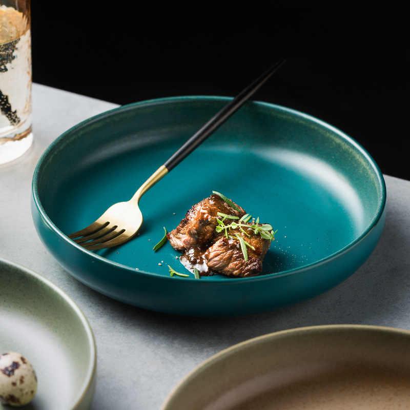 1 Pc European Style Ceramic Deep Dish Home Dish Soup Noodle Round