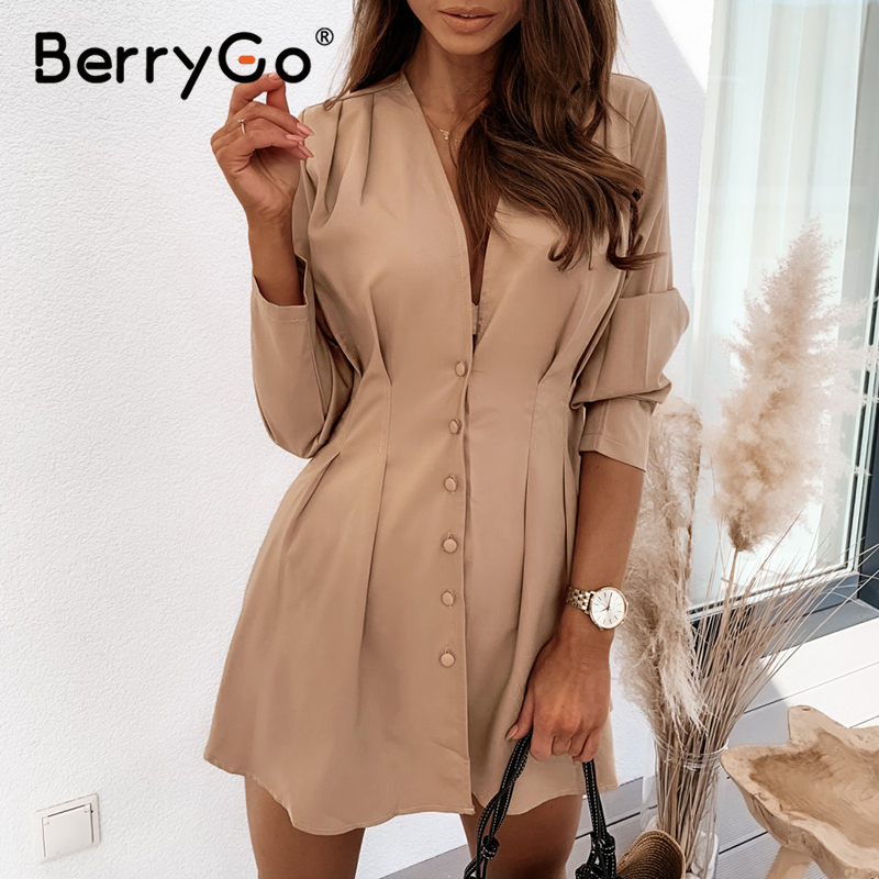 BerryGo V-neck dresses for women High waist long sleeve buttons dress casual A-line fitted Office ladies autumn dress 2020