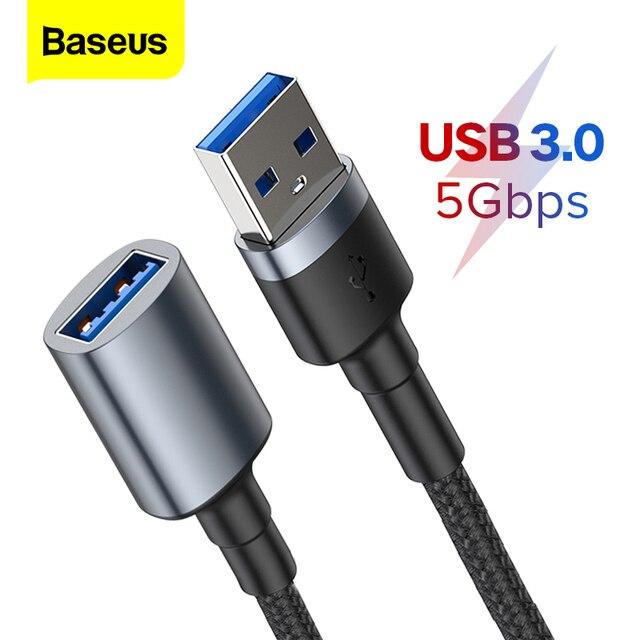 Baseus USB הארכת כבל סוג זכר לנקבה מאריך USB 3.0 חכם טלוויזיה PS4 Xbox SSD 5GB US3.0 נתונים סנכרון חוט כבל