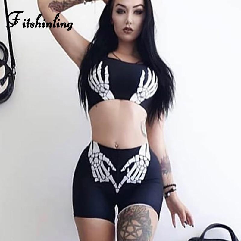Fitshinling Skull Print Gothic Women Matching Sets Bras Biker Shorts 2 Piece Set Fitness Grunge Harajuku Black Outfits Female